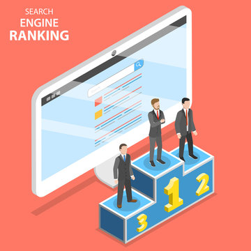 Search engine ranking flat isometric vector. First 3 winners of the SEO ranking are standing on the champion pedestal.