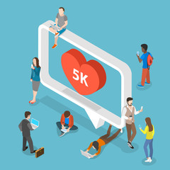 Social media flat isometric vector concept. People around the big speech bubble are using their mobile devices.
