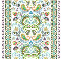 Indian seamless pattern. Wallpaper with Paisley. Ethnic style. Border ornament