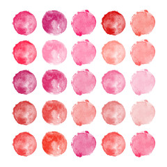 Set of watercolor shapes. Watercolors blobs. Set of colorful watercolor hand painted circles isolated on white. Illustration for artistic design. Round stains, blobs of pink, red colors