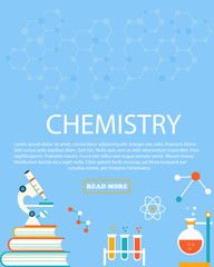 Chemistry study. Education and science layout concepts. Flat modern style.