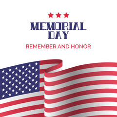 Memorial day card. Remember and honor
