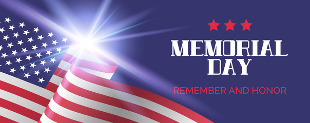 Memorial day. Remember and honor. Vector greeting banner template