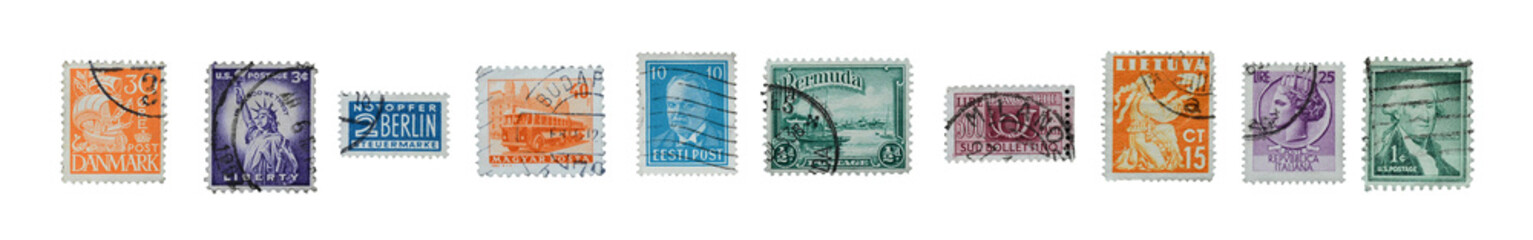 Stamps mail close up.