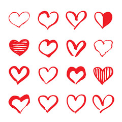 Red hand drawn hearts. Design elements for Valentine's day.