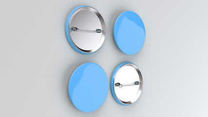 Blank blue badge on white background