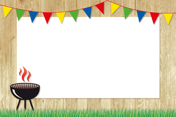 Fotorolgordijn Grill / Barbecue barbecue poster with colourful bunting