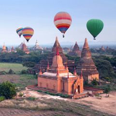 Colorful hot air balloons flying over Bagan Archaeological zone, Mandalay division, Myanmar