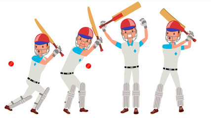 Cricket Player Vector. In Action. Cricket Team Character. Poses. Flat Cartoon Illustration