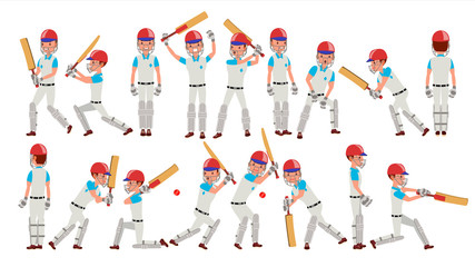 Professional Cricket Player Vector. Equipped Players. Pads, Bats, Helmet. Isolated On White Cartoon Character Illustration