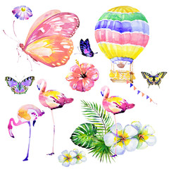 beautiful tropical palm leaves , flamingos, balloon, butterfly ,watercolor