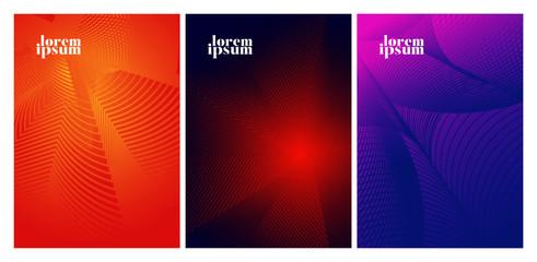 Minimal covers design. Colorful halftone gradients.