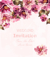 Vintage watercolor roses card Vector. Beauty Invitation delicate floral decors