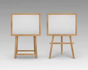 Vector Set of Wooden Brown Sienna Art Boards Easels with Mock Up Empty Blank Horizontal Canvases in Frame Isolated on Background