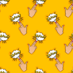 Abstract seamless pin up pattern for girls, boys, clothes. Creative vector pin up background with fingers gun, cloud. Funny pattern wallpaper for textile and fabric. Fashion pop art style.