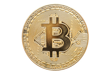 Gold bitcoin isolated on white