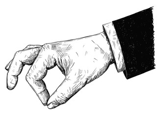 Vector artistic pen and ink drawing illustration of businessman hand in suit holding something small between pinch fingers. Possibly spice or salt or pepper.