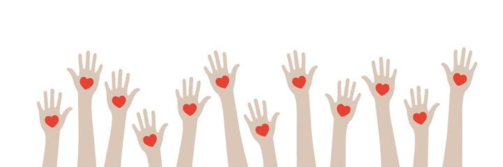viele Hände mit Herzen - Freundschaft - Hilfsbereitschaft