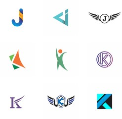j, k, jk, kj letter logo design for website, art, symbol, and brand