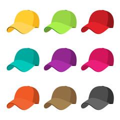 Baseball cap icon set. flat vector illustration isolate on a white background
