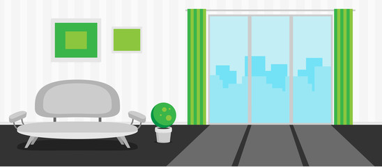 Flat  interior concept vector for design