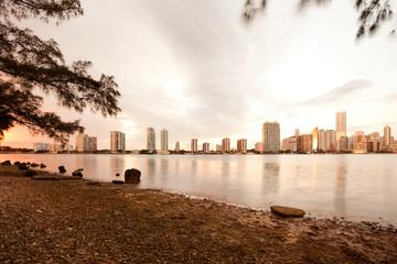 Skyline of buildings at Brickell District, Miami, Florida, USA