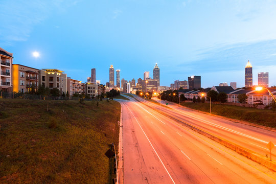 Empty freeway at dawn in downtown Atlanta, Georgia, USA