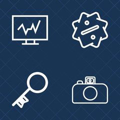 Premium set of outline vector icons. Such as security, tag, digital, medicine, sign, diagnostic, film, offer, clinic, lock, special, flash, professional, doctor, access, sale, discount, promotion, key