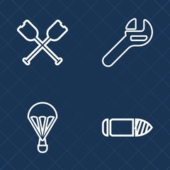 Premium set of outline vector icons. Such as skydiving, weapon, fly, skydiver, industry, shot, marine, steel, equipment, sport, mechanic, metal, paddle, kayak, parachute, parachuting, canoe, oar, gun