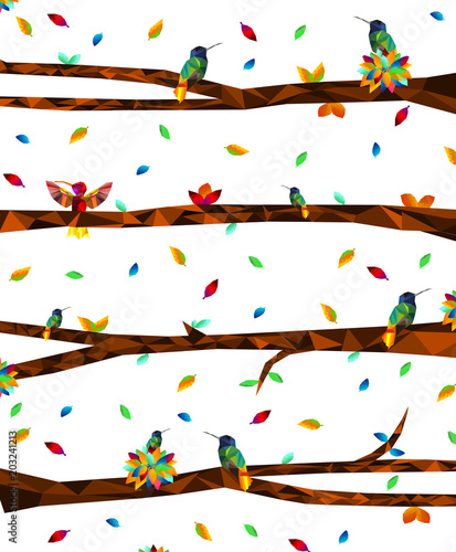 Low poly colorful Hummingbird with tree on falling leaves