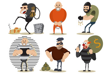 Thief, robber and gangster set. Criminal illustration with men in a mask at the crime scene. Vector cartoon characters.