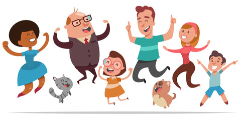 Happy people jumping for joy. Vector cartoon character of joyful men, women, children, dogs and cats isolated on white background.