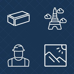 Premium set of outline vector icons. Such as hat, scenic, professional, home, metal, worker, travel, man, scenery, city, background, construction, tourism, photography, architecture, male, landmark