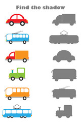 Find the shadow game with pictures of transport for children, education game for kids, preschool worksheet activity, task for the development of logical thinking, vector illustration