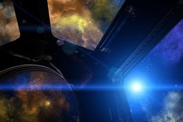 Galaxy, nebula and star.
