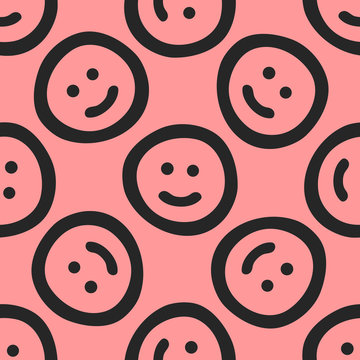 Repeated cute smileys drawn by hand. Funny seamless pattern. Sketch, doodle.
