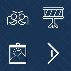 Premium set of outline vector icons. Such as background, border, photography, invitation, orchestra, guitar, picture, celebration, masquerade, photo, blank, sound, button, party, saxophone, drum, sign