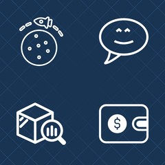 Premium set of outline vector icons. Such as talk, finance, ship, communication, planet, chat, cash, cargo, galaxy, space, trend, spaceship, statistic, stats, money, rocket, stock, message, dollar