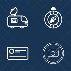 Premium set of outline vector icons. Such as information, dish, credit, north, forbidden, photography, cash, banking, direction, communication, truck, signal, compass, investment, navigation, pay, tv