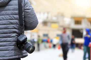traveler take camera taking photo during travel