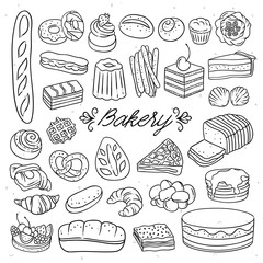 Hand drawn bakery illustrations. Bread, cakes, cupcakes, sweet desserts sketched drawings for cafe and menu decorations