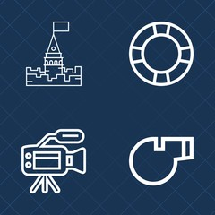 Premium set of outline vector icons. Such as tripod, swim, media, video, architecture, medieval, safety, object, ring, tower, travel, vacation, rubber, king, whistle, holiday, inflatable, kingdom, fun