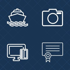 Premium set of outline vector icons. Such as focus, black, achievement, cruise, film, money, water, nautical, professional, shopping, card, honor, digital, technology, credit, wave, equipment, banking