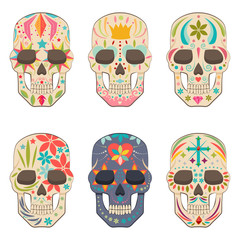 Mexican sugar skull vector flat icons set. Design elements for holiday Day of the Dead, Halloween, party and tattoo isolated on white background.