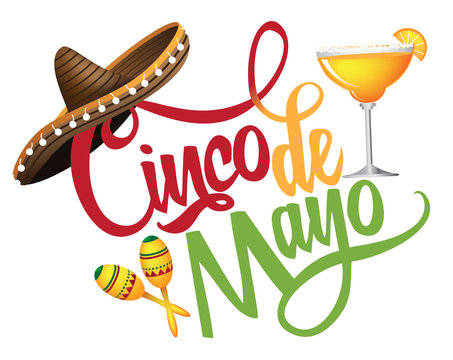 Cinco de Mayo hand drawn lettering with festive straw sombrero, maracas and margarita.  EPS10 vector illustration.