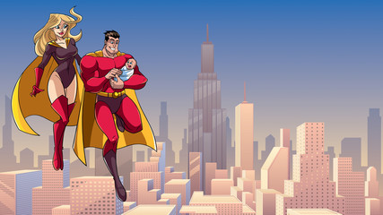Full length illustration of happy super dad and super mom with super baby, flying in the sky over big city.