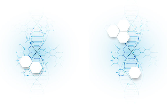 Bright scientific background. A creative idea for your business concept. DNA style.
