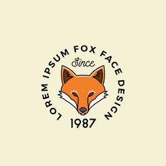 Line Style Fox Face with Retro Typography. Abstract Vector Sign, Symbol or Logo Template. Cartoon Silhouette.