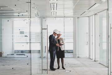 Businessman looking at new office space