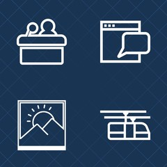 Premium set of outline vector icons. Such as conference, background, audience, internet, people, online, chat, lecture, image, sky, transport, presentation, talk, seminar, blank, speaker, meeting, web
